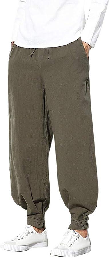 Mens Linen Cotton Drawstring Yoga Loose Pants Beach Dance Casual Trousers Slacks