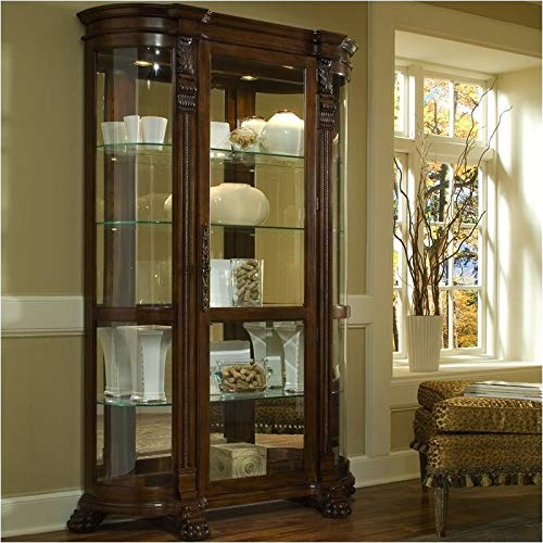 BOWERY HILL Curved End Curio Cabinet (Curio Cabinet Curved With Glass)