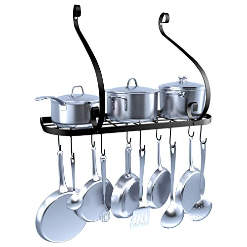 VDOMUS Wall Mount Pot Pan Rack, Kitchen Cookware Storage Organizer, 24 by 10 in with 10 Hooks, (Wall Mount Pan Rack)