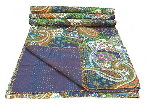 Multicolor Paisley Print King Size Kantha Quilt , Kantha Blanket, Bed Cover, King Kantha bedspread, Bohemian Bedding Kantha Size 90 Inch x 108 Inch (King Size Quilts For Beds compare prices)