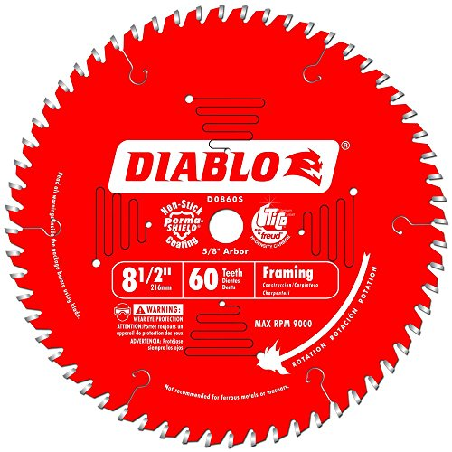 Teeth Arbor 5/8 60 (Freud D0860S Diablo 8-1/2-Inch 60 Tooth Fine Finishing Miter Saw Blade with 5/8-Inch Arbor)