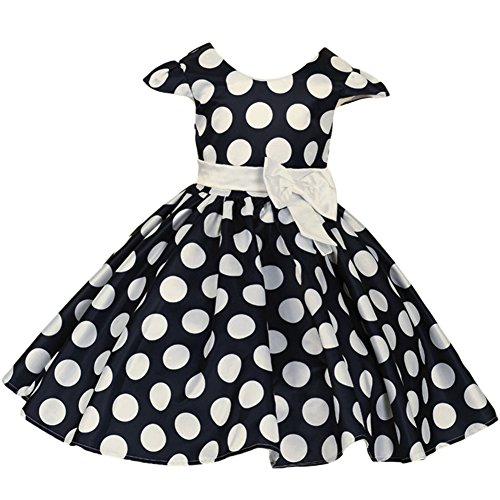 Baby Girl's Birthday Halloween Costume Ball Gown Tutu Dress up Skirt with Minnie 3D Ears Headband Outfits Clothes Set S# Navy Blue 5-6 Years ()