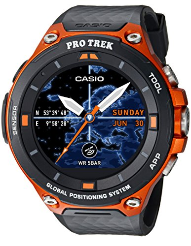 Casio Men's 'PRO TREK' Quartz Resin Outdoor Smartwatch, Color:Orange (Model:...