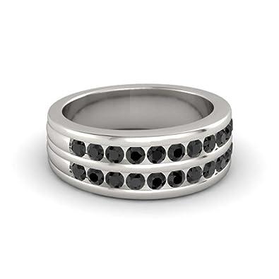e3d63c472b41a Dabangjewels 14k White Gold Plated Round Cut Black CZ Diamond Two ...