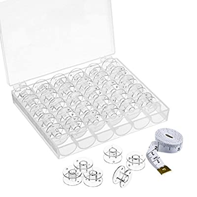 eBoot 36 Pack Transparent Plastic Sewing Machine Bobbins with Case and Soft Tape Measures for Brother/ Babylock/ Janome/ Kenmore/ Elna/ Singer Sewing Machine by eBoot