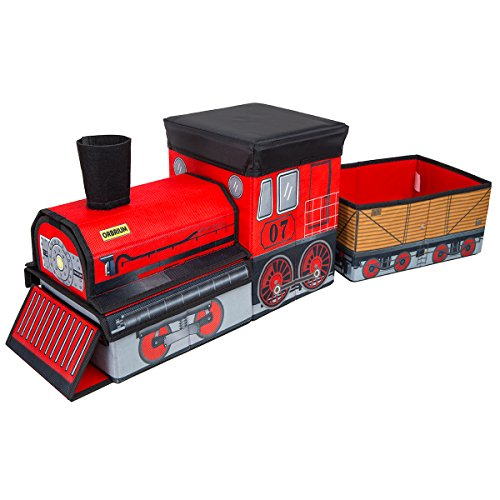 Orbrium Toys Train Shaped Collapsible Toy Storage Bins Organizer for Thomas Wooden Train and Trackmaster, etc.