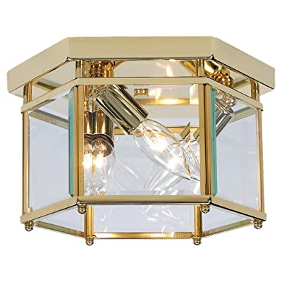 Sea Gull Lighting 3-Light Ceiling Fixture, Clear Beveled Glass