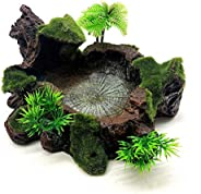 POPETPOP Reptile Tank Decor-Reptile Water Bowl Resin Reptile Platform Artificial Tree Trunk Design Reptile Wat