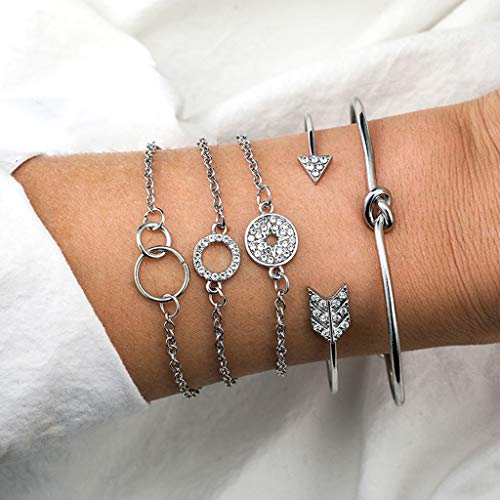 Sinfu Women 3-5PC/Set Women Bohemian Snowflake Round Pentagram Moon Hand Strap Bracelet Glossy String Beaded Daisy Bracelet Turtle Irregular Love Fox Map Bracelet Adjustable Bangle Bracelet Anklet (C) (Daisy Strings)
