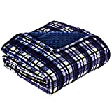 YnM Minky Weighted Blanket, 15lbs 48''x 72'' Ultra-Soft Heavy Blanket for Twim/Full Bed, One Piece Design, Navy Plaid