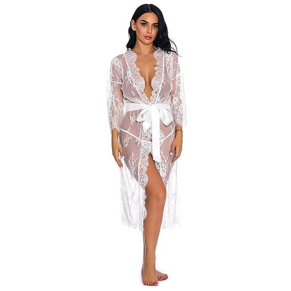 Reooly Ropa Interior Nueva para Mujer Vestido Largo de Encaje Sexy ...
