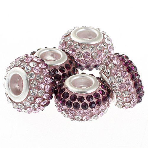 (RUBYCA Big Hole Czech Crystal Large Charm Beads fit European Bracelet (10pcs, 15mm, Pink and White))