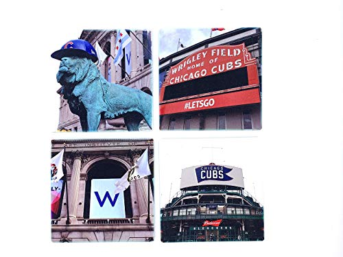 Chicago Cubs Wrigley Field Sandstone Coasters (Set of 4)