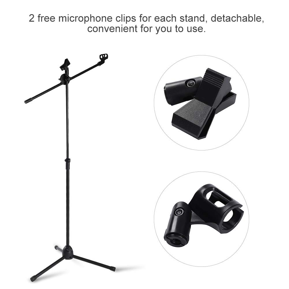 Soporte de brazo plegable para micr/ófono 2 soportes para micr/ófono y 4 clips para micr/ófono