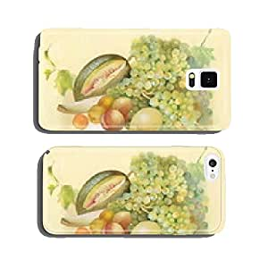Watercolor melon vine peach and lemon in a still life cell phone cover case Samsung S6