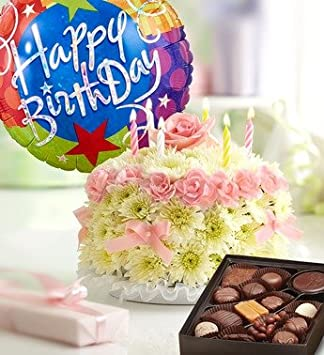 Amazon.com : Birthday Flower Cake Pastel - with Happy Birthday ...