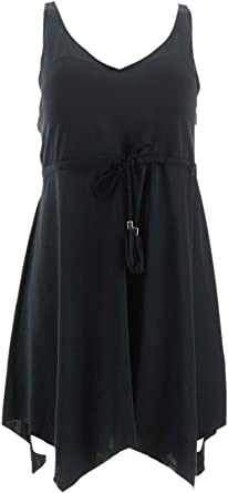 Denim /& Co Beach V-Neck Handkerchief Hem Swim Dress Black 8 NEW A350352