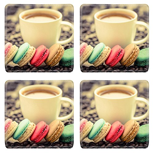 Luxlady Square Coasters IMAGE ID 34567517 macaroons and espresso coffee cup on wooden table vintage stylized photo