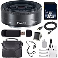 Canon EF-M 22mm f/2 STM Lens + 32GB SDHC Class 10 Memory Card 6AVE Bundle 18 (International Verion) No Warranty
