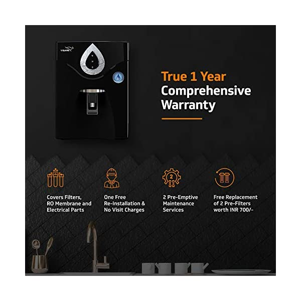 V-Guard Reverse Osmosis Water Purifier - 7L 2021 June Made For Indian Water Conditions   7 Stage Advanced Purification   Double Layer Protection with RO + UF   Delivers Natural Taste   Intelligent Design - Protects Sensitive RO & Enhances Life Can Treat Water with TDS up to 2000ppm - Suitable For Borewell, Tanker and Municipal Water Free External Pre-Filter   7L Large Storage Tank   LED Indicators   Wall Mount & Table Top Installation