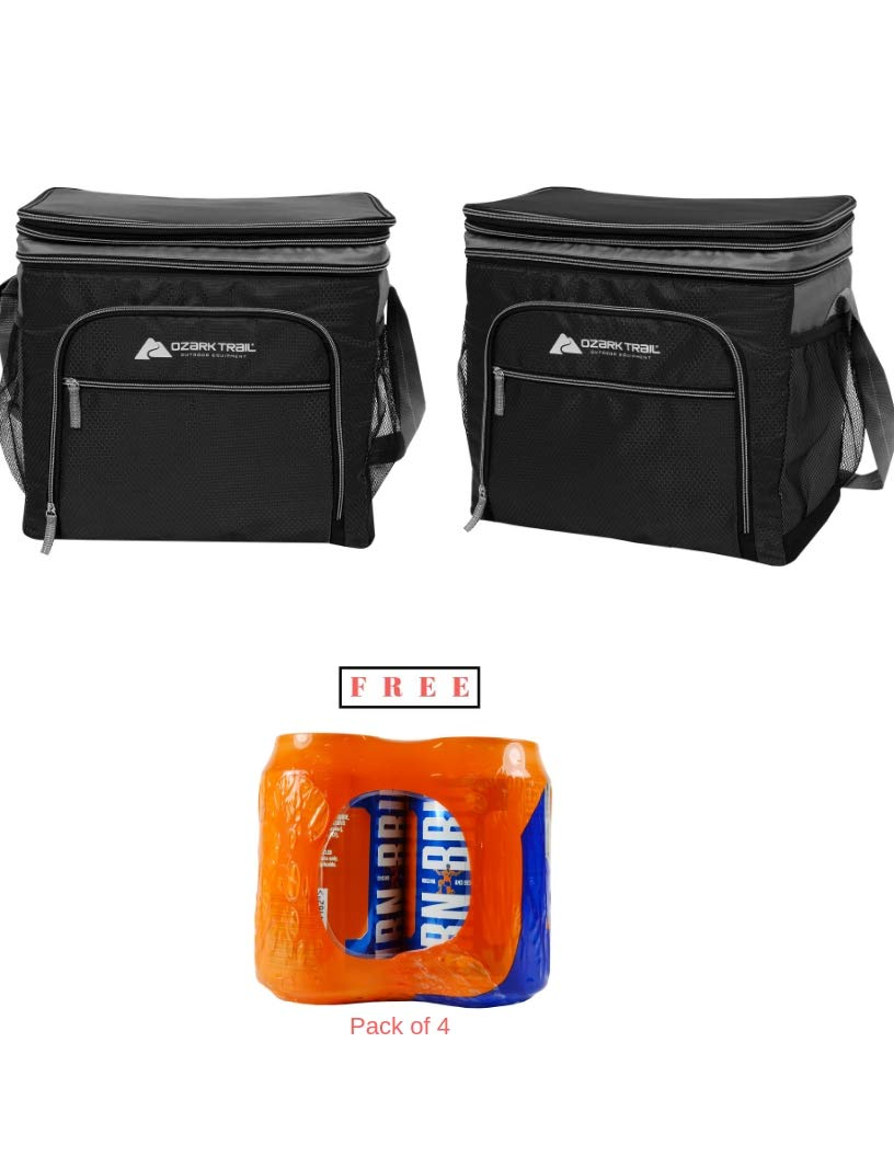 Ozark Trail* Pack of 2 12 Can Expandable Top Soft-Sided Cooler - Fits 12 Cans - Outdoor Equipment in Black Finish with Free!