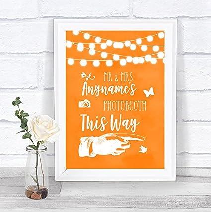 Cartel de boda personalizable con luces de acuarela naranja ...