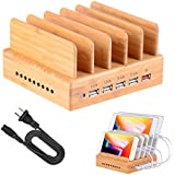 Fastest Charging Station for Multiple Devices, Othoking Bamboo Charging Station with Quick Charge 3.0 & 5 Port USB Charger for iPhone,iPad,Samsung,LG,Nexus,Phone,Tablets,Kindle