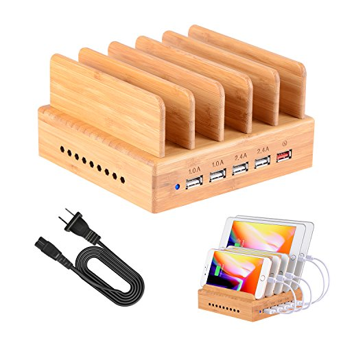 Fastest Charging Station for Multiple Devices, Othoking Bamboo Charging Station with Quick Charge 3.0 & 5 Port USB Charger for iPhone,iPad,Samsung,LG,Nexus,Phone,Tablets,Kindle by OthoKing