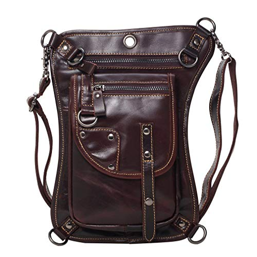 Waterproof Leather Cross Body Shoulder Pack Tactical Motorcycle Riding Climbing Black (Coffee) ()