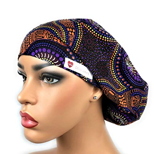 Women's Surgical Scrub Hat Nurse Ponytail Adjustable Euro Bouffant Purple African DK Scrub Hats