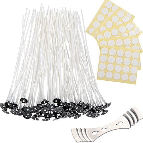 Shappy Candle Making Kit 100 Pieces Prewaxed Candle Wicks with 1 Piece Stainless Wick Holder Sustainer and 100 Double-Sided Dots Wick Stickers (4.7 Inch)