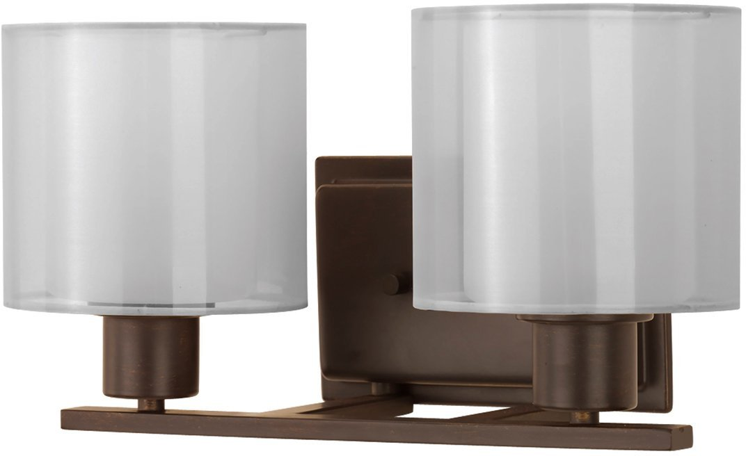Luxury Cosmopolitan Bathroom Vanity Light, Medium Size: 7.375''H x 14.5''W, with Transitional Style Elements, Olde Bronze Finish and White Shade, UHP2511 from The Tacoma Collection by Urban Ambiance