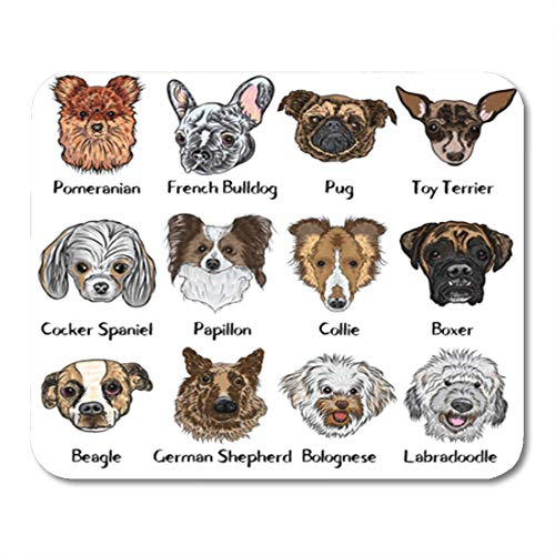 Semtomn Gaming Mouse Pad Collection of Different Dogs Breeds Labradoodle German Shepherd Beagle 9.5