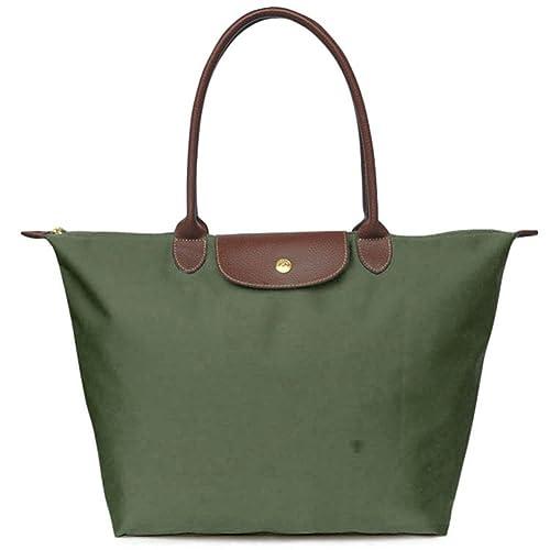 724fac436 BEKILOLE Women's Stylish Waterproof Tote Bag Nylon Travel Shoulder Beach  Bags-Army Green Color -