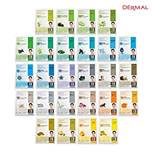 Dermal Korea Collagen Essence Full Face Facial Mask Sheet 26 Green & Yellow Combo Pack - Skin Soothing, Nourishing