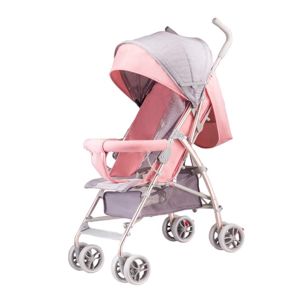 ベビーカー 背面ベビーカー ベビーカー超軽量ポータブル折りたたみトロリー赤ちゃん傘背もたれ無料調整四輪ベビーカーアルミ合金材料3色 (色 : ピンク)  ピンク B07SBTRTMQ