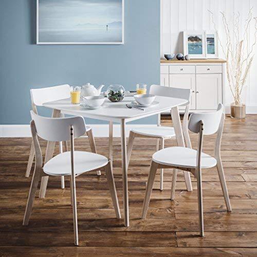 Julian Bowen Dining Table, Hardwood, White/Limed Oak, One Size