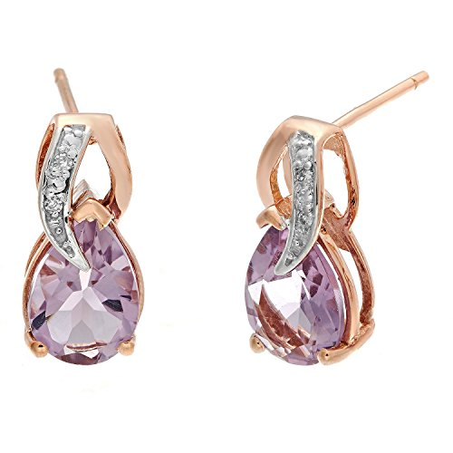 Lavari - 10K Rose Gold Pink Amethyst .02 cttw Diamond Pear Earrings