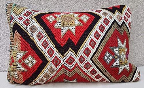 Vintage Flatweave Kilim Rug Pillow with Embroidered, Decorative Boho Kelim Cushion Case, Orange Color Handwoven Vintage Long and Large Kilim Lumbar Pillow 16'' X 24'' (40 x 60 Cm)