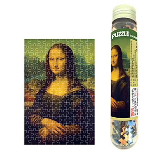 150 Pieces - Mini Jigsaw Puzzle of Oil Painting Mona Lisa for Adults and Kids/ Packaged in a Portable Test Tube Plastic Bottle