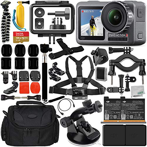 DJI Osmo Action 4K Camera with Deluxe Accessory Bundle - Includes: Spare DJI Battery for Osmo Action Camera + SanDisk Extreme 128GB microSDXC Memory Card + Carrying Case + Suction Cup Mount + More from DJI