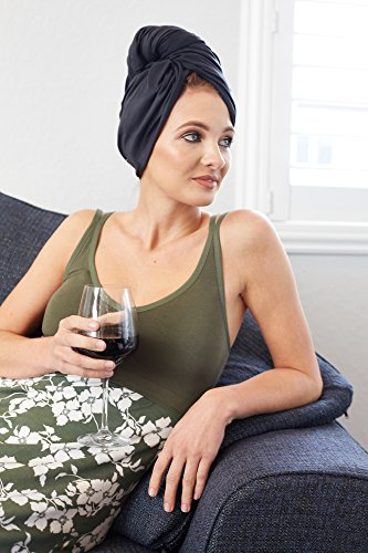 The Perfect Microfiber Hair Towel Wrap - Absorbent Turban for Fast, Anti-Frizz Drying - Never Falls Off Curly or Straight Hair - (38.5''x27.5'') Includes Wet or Dry Detangling Brush (Black) by The Perfect Haircare (Image #6)