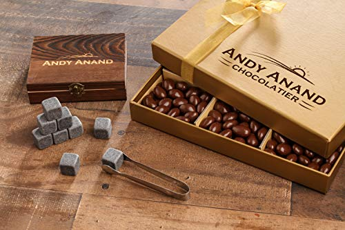 - Andy Anand's Chocolate covered Almond 1 lbs, & Whiskey Stones in Deluxe Wooden Box , for Birthday, Valentine Day, Gourmet Christmas Holiday Food Gifts, Thanksgiving,Halloween, Mothers day, Fathers Day
