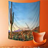 AmaPark Polyester Fabric Wall Decor Sun Goes Down in Desert Prickly pear Southwest Wall Hanging Bedroom Living Room Dorm Home Decor Tapestry 40W x 60L Inch