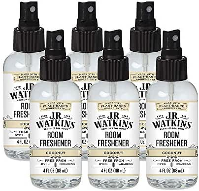 JR Watkins Room Air Freshener Spray, Coconut, 6 Pack, Natural Freshener for Home, Office, or Car, USA Made and Cruelty Free, 4 fl oz