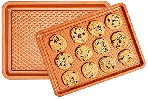 Copper Chef Diamond Bakeware 2-Pack Baking Tray Cookie Sheet Set (9×13 and 10×15) – Non Stick Chef-Grade Baking Pans – Baking Sheets for Oven