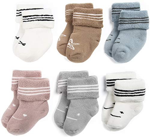 Baby-Non-Skid-Sock-Toddler Warm Cotton Rolled-Cuff-Infant-Socks-Kids Anti Slip Unisex Thick with Grips 6 Pairs Pack