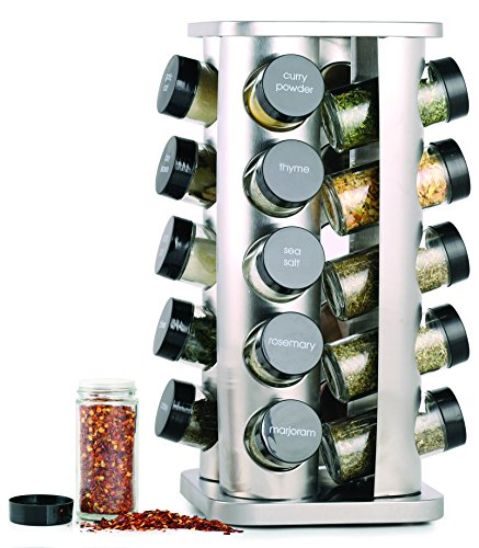 (Orii GSR3421 Rivetto Rotating Spice Rack, Steel with black caps)