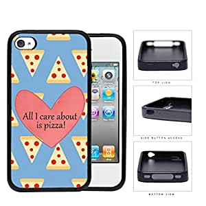 All I Care About Is Pizza Pink Heart And Pizza Pattern iPhone 4 4s Rubber Silicone TPU Cell Phone Case