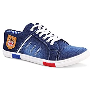 Zovim Men's Denim Jeans Sneakers Casual Shoes – Blue